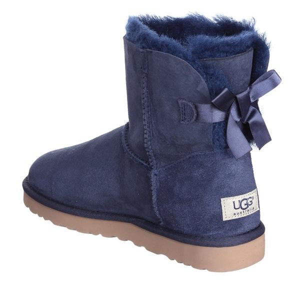 c47976b20c0 BNIB UGG Mini Bailey Bow Boots Navy Blue 9 NEW NWT
